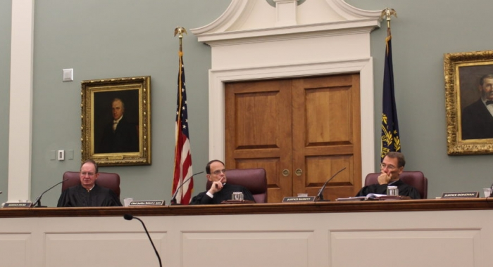 Members of the New Hampshire Supreme Court include, from left, Associate Justice Anna Barbara Hantz Marconi, Senior Associate Justice Gary Hicks, Chief Justice Robert Lynn, Associate Justice James P. Bassett, and Associate Justice Patrick E. Donovan at th