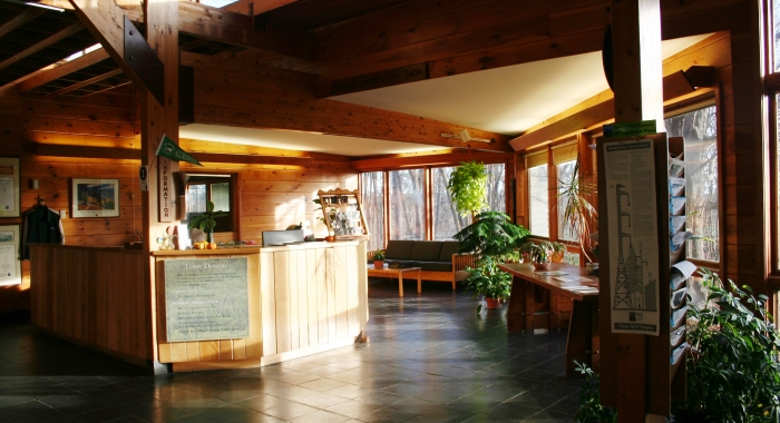 The lobby of the Conservation Center is filled with natural light.