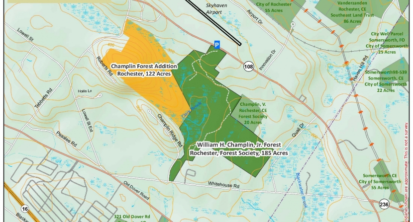 A map of the area that makes up Champlin Forest.