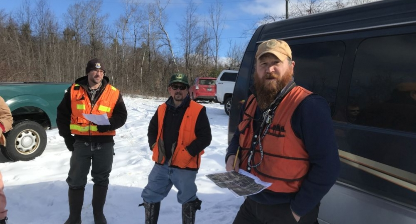 Foresters and biologists, Ted Kendziora of USFWS (left) and Steve Roberge of UNH Extension (right) lead a walk to view habitats