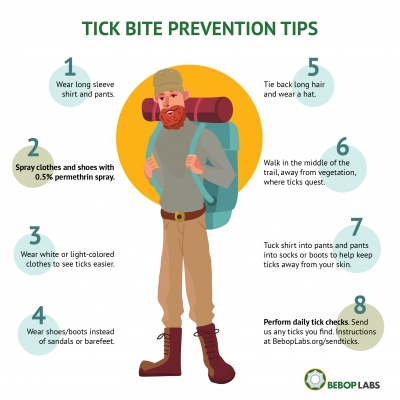 An illustration of six tick prevention tips.