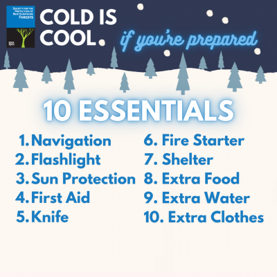 A graphic of 10 essentials for winter recreation: navigation, flashlight, sun protection, first aid, knife, fire starter, shelter, extra food, water and clothing.