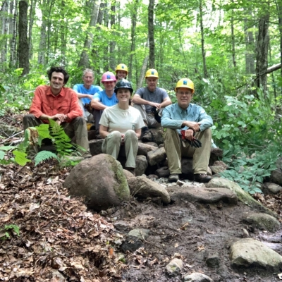 A trailwork crew poses on the job.