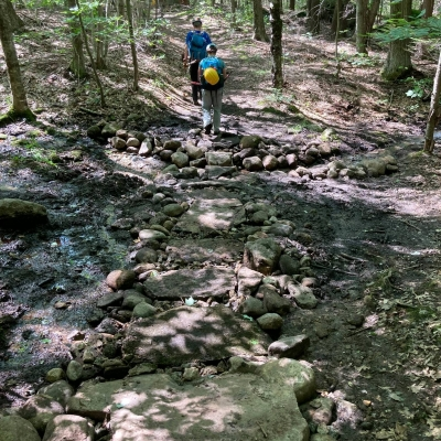 A trail, once eroded and covered in water, is now built up with rock steps and gravel to ensure better drainage.