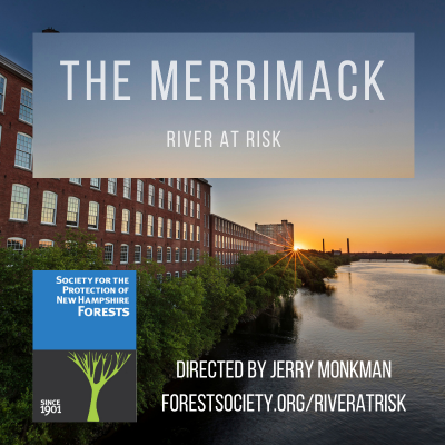 The film poster for The Merrimack: River at Risk shows the river flowing by an old mill building.