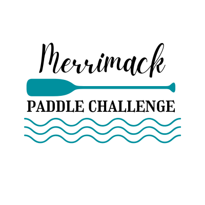 A logo with Merrimack Paddle Challenge written between a paddle and waves.