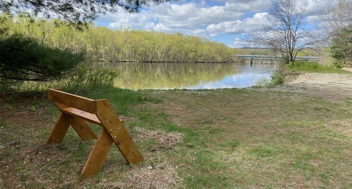 A new bench overlooks the Merrimack River at our Outdoor Education & Conservation Area in Concord.