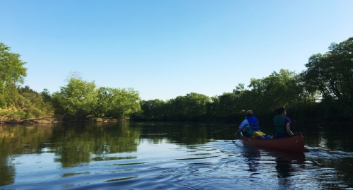 Paddling an Old Town Canoe on the Merrimack River in Summer