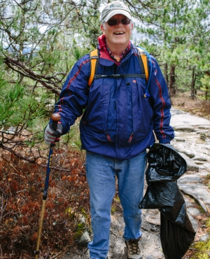 This volunteer has been hiking Mount Major since he was a teenager. Last weekend was his first time at the annual clean up event.