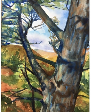 A watercolor painting of a tree up close.
