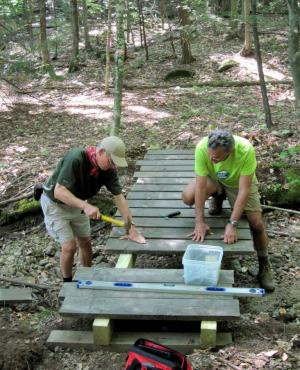 Land stewards work on a bridge at Buxton-Simons Forest