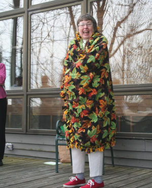 Mary Beth in autumn leaf motif at her retirement party in 2008.