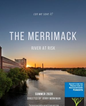 The poster for the movie The Merrimack has a river next to a mill building.