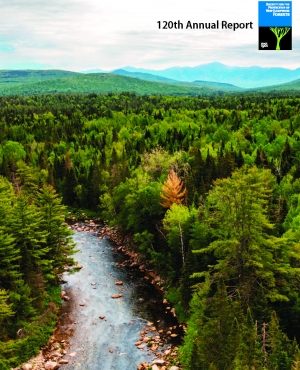 The cover of the 120th Annual Report shows the Ammonoosuc River from an aerial view.