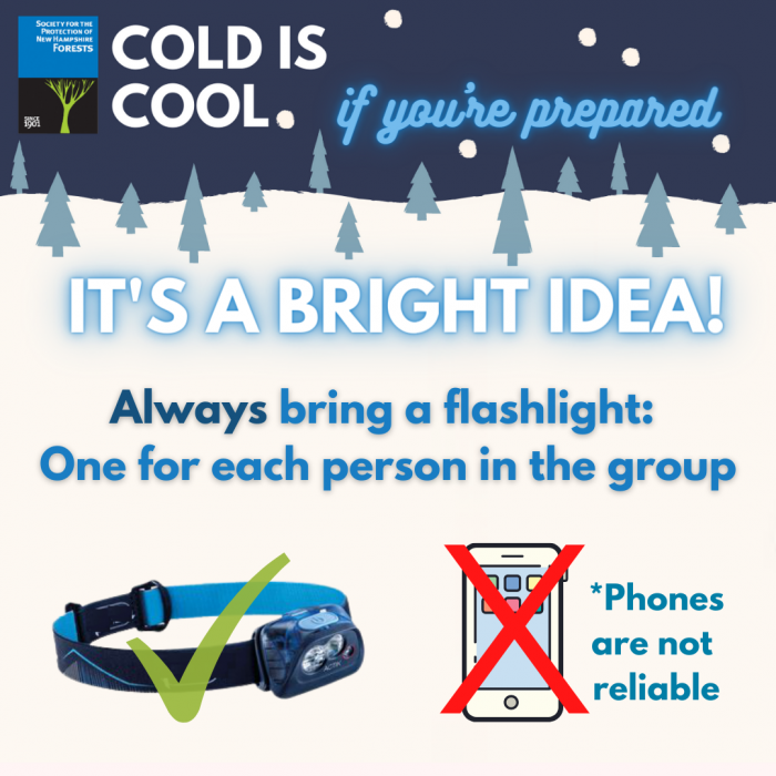 A graphic about bringing headlamps during winter recreation.