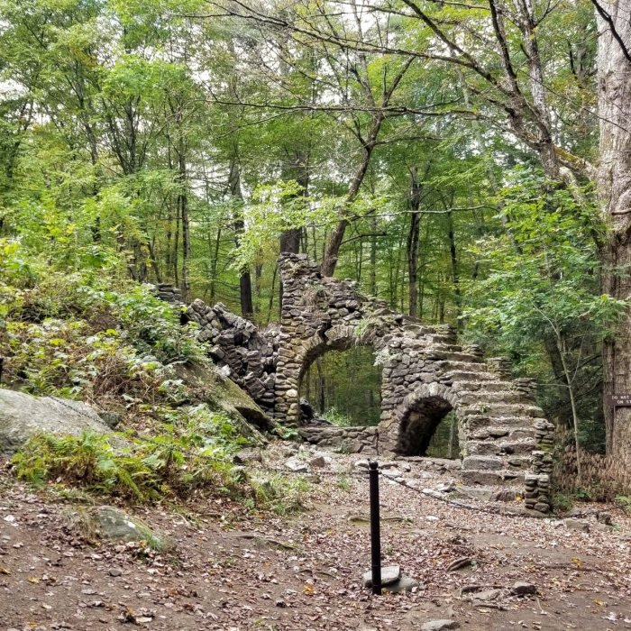 Madame Sherri staircase ruins with barrier chains