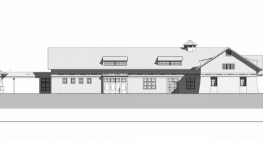 An architectural drawing of the renovation of the Carriage Barn.