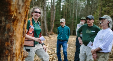 Managing forester Wendy Weisiger talking about sustainable forestry at a past field trip with land stewards.