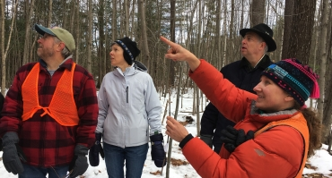 Wendy Weisiger teaching tree ID at the BelaBrookConservationArea in Dunbarton