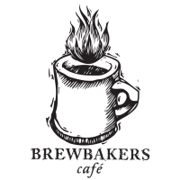 A drawing of a cup of coffee is the logo for Brewbakers Cafe.