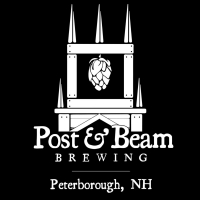 The black and white logo for Post and Beam Brewery in Peterborough.